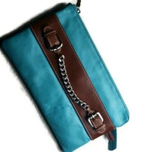 Nino Bossi clutch satchel turquoise bag